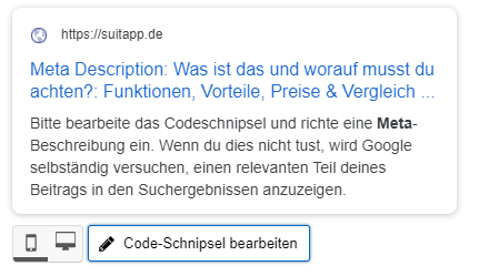 Meta Description Beispiel Yoast SEO